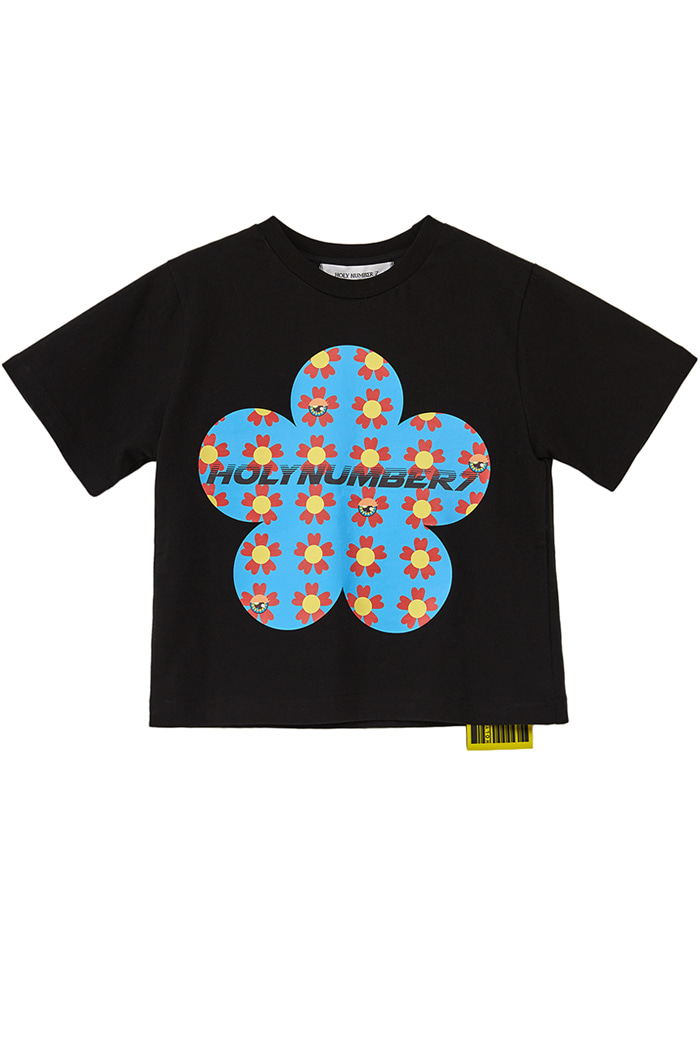 flower PIPING POINT CROP T-SHIRTS_BLACK