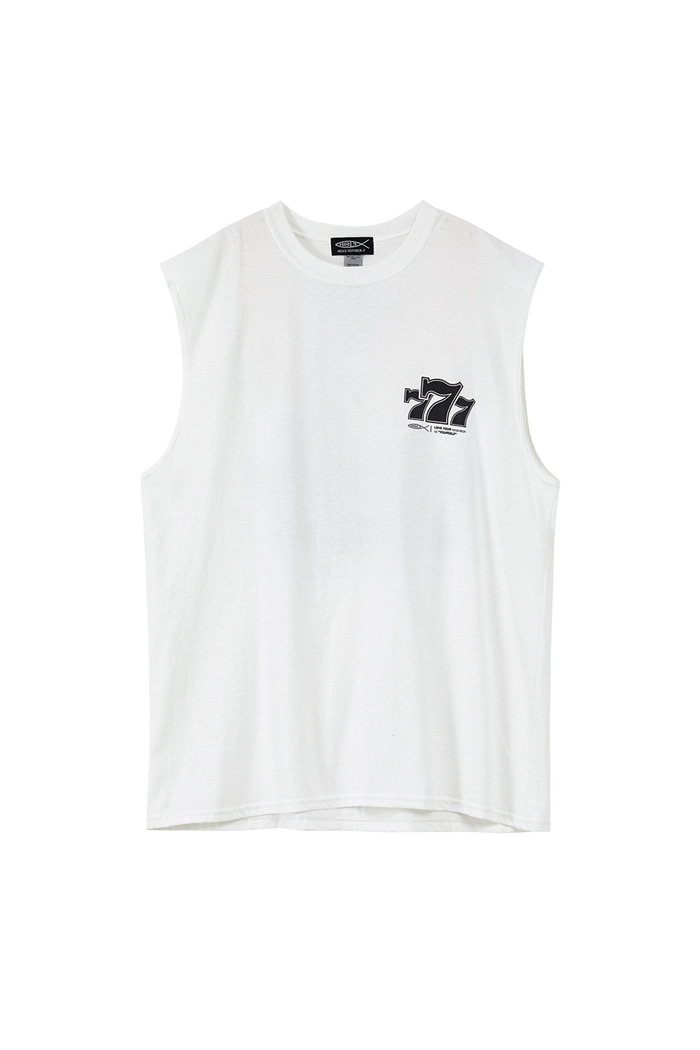 777 PIPING POINT SLEEVELESS T_WHITE