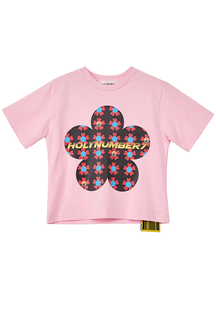 flower PIPING POINT CROP T-SHIRTS_PINK