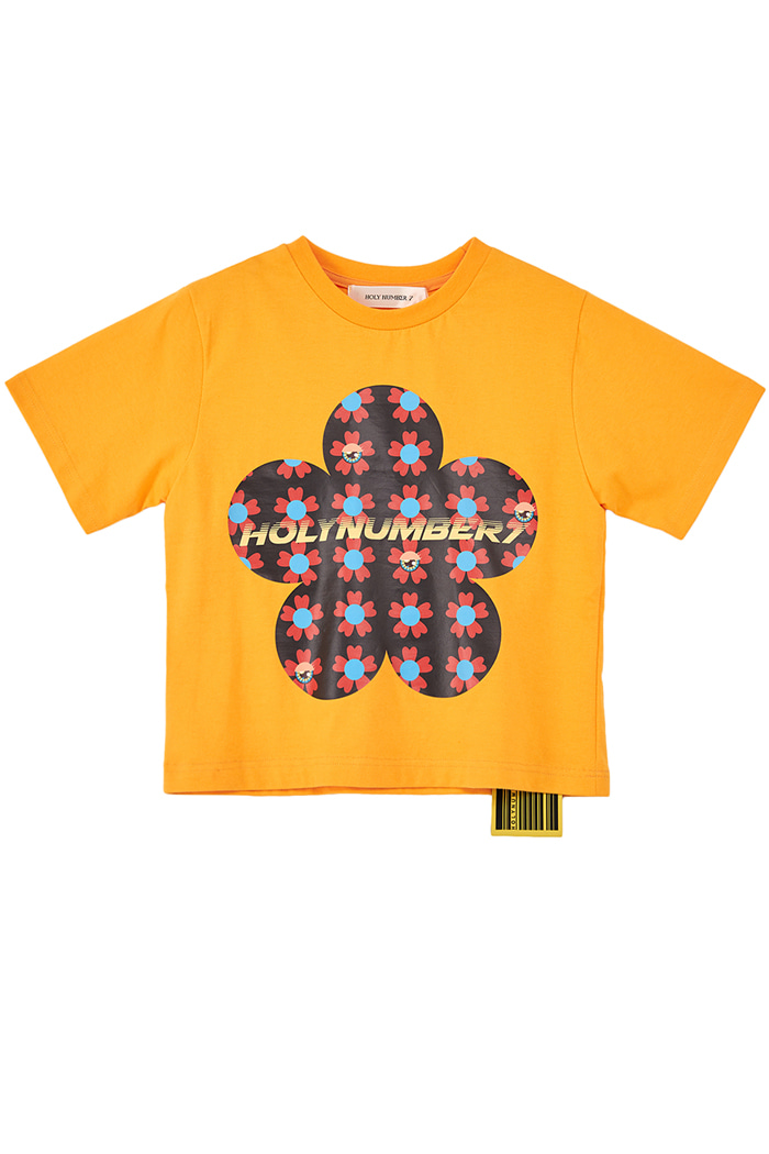 flower PIPING POINT CROP T-SHIRTS_YELLOW