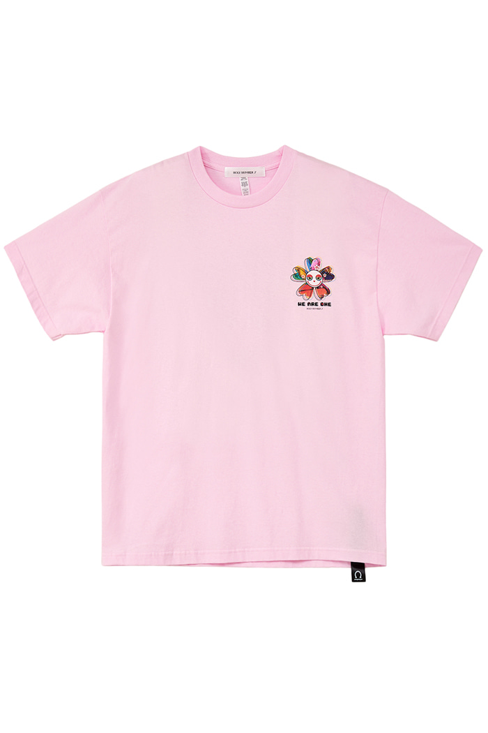 [Over-fit] WE ARE ONE flower half-sleeve_PINK
