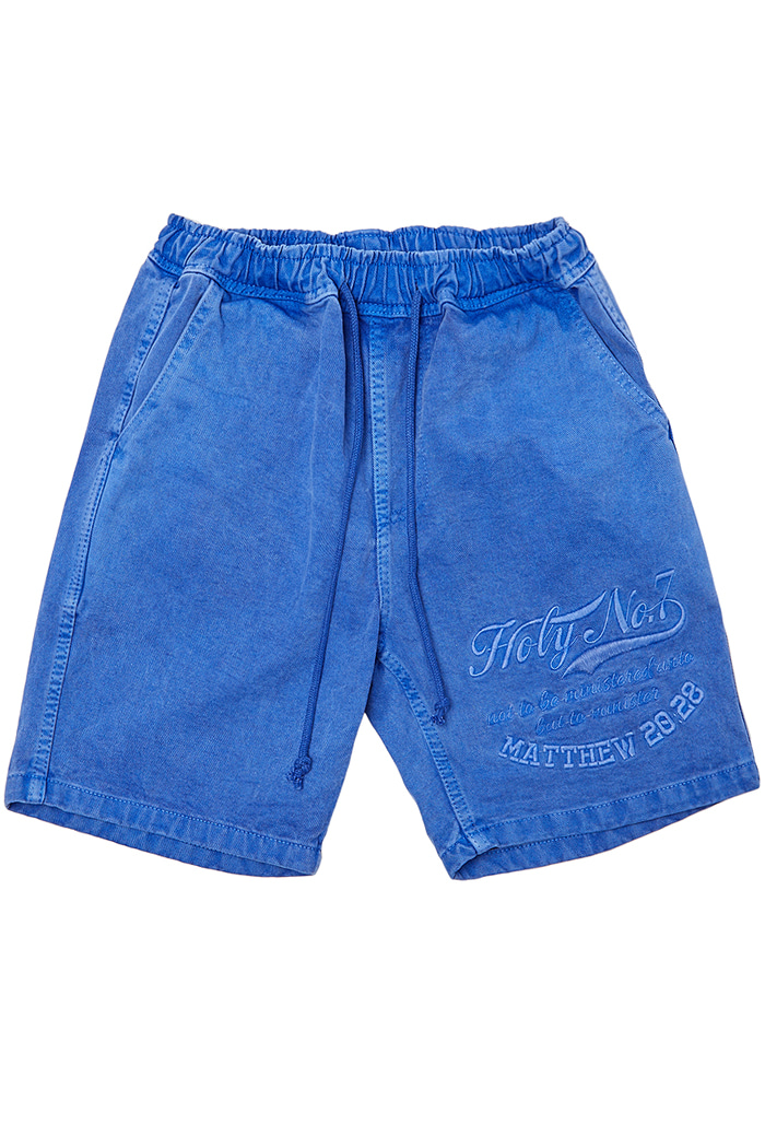Big logo half pants_BLUE