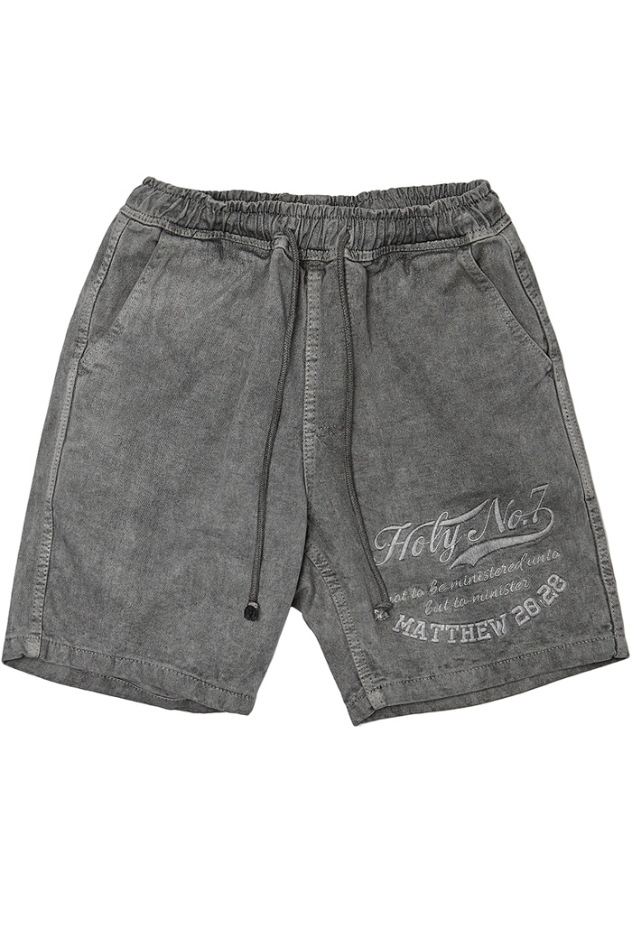 Big logo half pants_CHARCOAL
