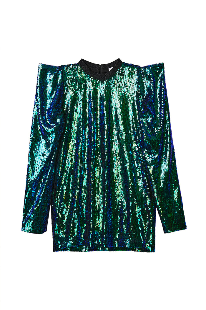 Spangle puff sleeve Mini Onepiece_Green