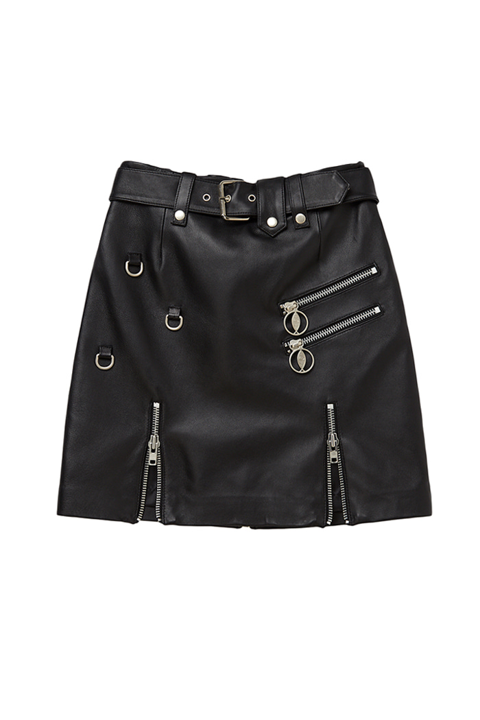 Lambskin Zipper detail Belt Skirt