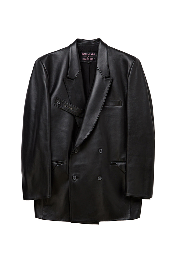 Lambskin Strap Double Two Button Blazer