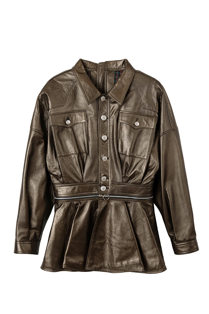 Lambskin One-piece Zipper Jacket_Bronze