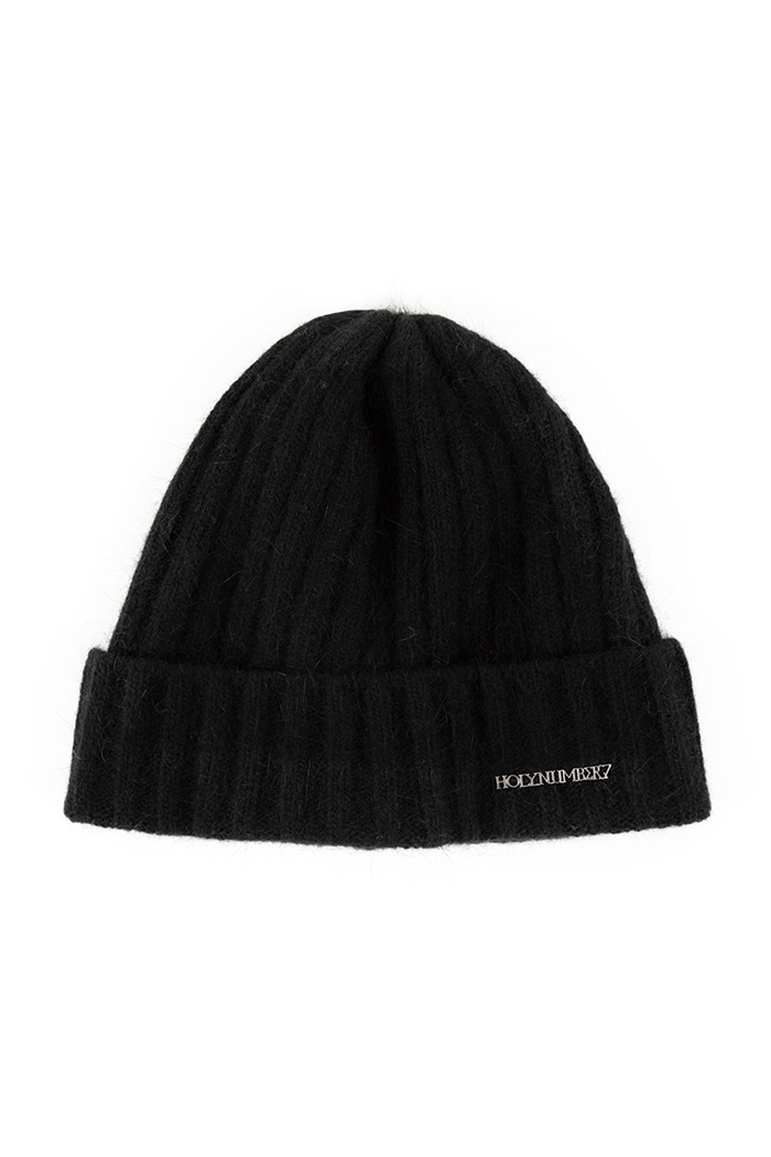 SILVER LETTERING ANGORA BEANIE_BLACK