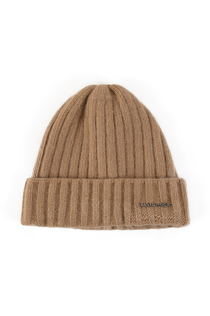 SILVER LETTERING ANGORA BEANIE_BEIGE
