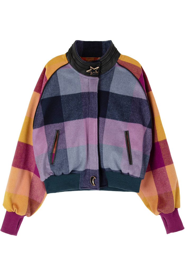 REVERSIBLE CROP CHECK WOOL JUMPER